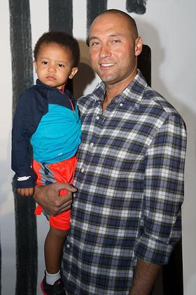 Derek Jeter and his nephew at the Kids Rock! Fashion Show
