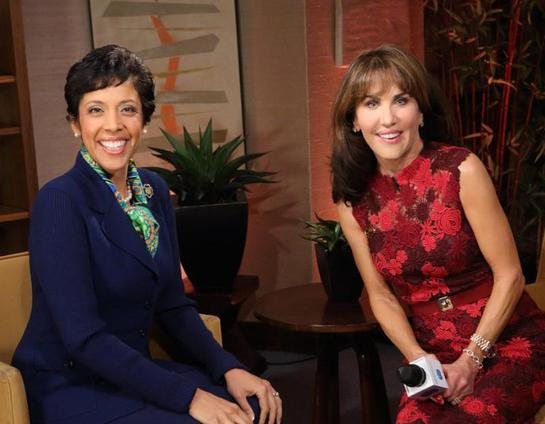 Anna Maria Chavez, CEO of Girl Scouts of the USA (L), and Girl Scouts of the USA celebrity spokesperson, Robin McGraw
