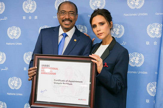 Michel Sidibé, Executive Director of UNAIDS, and new International Goodwill Ambassador, British fashion designer Victoria Beckham.