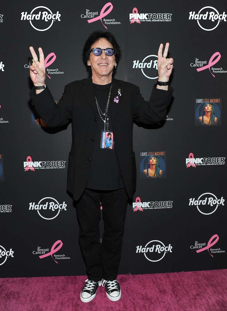 Peter Criss poses on the PINK carpet at Hard Rock Cafe New York to launch PINKTOBER