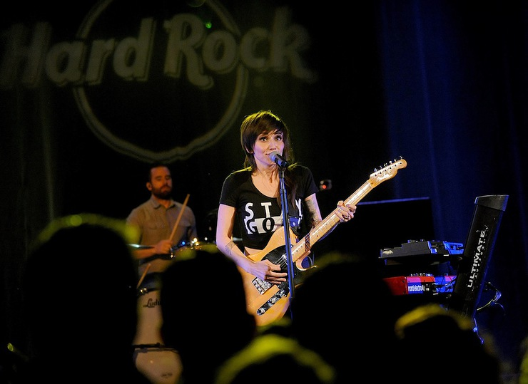 Lights performs at Hard Rock Cafe New York to kick-off its 15th annual breast cancer awareness campaign