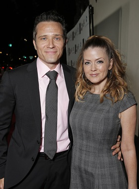 Seamus Dever and Juliana Dever attend the 14th annual 'Les Girls' arrivals at Avalon