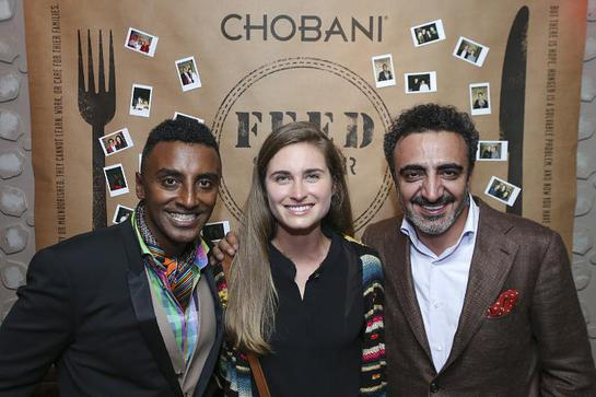 Chobani CEO Hamdi Ulukaya, right, FEED's Lauren Bush Lauren, center, and Chef Marcus Samuelsson