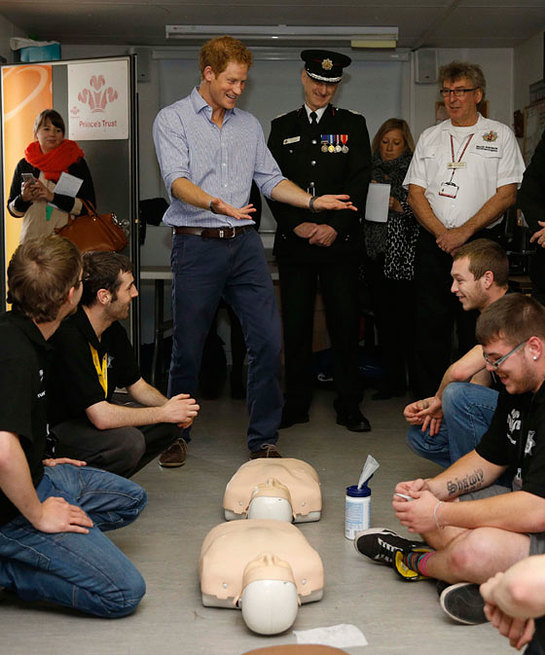 Prince Harry at Salford Fire Station
