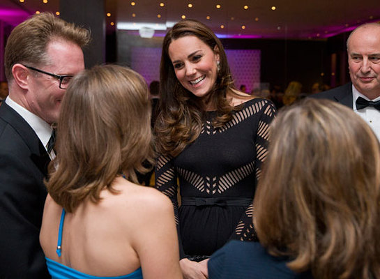 The Duchess of Cambridge greets supporters as she attends an Autumn gala evening dinner