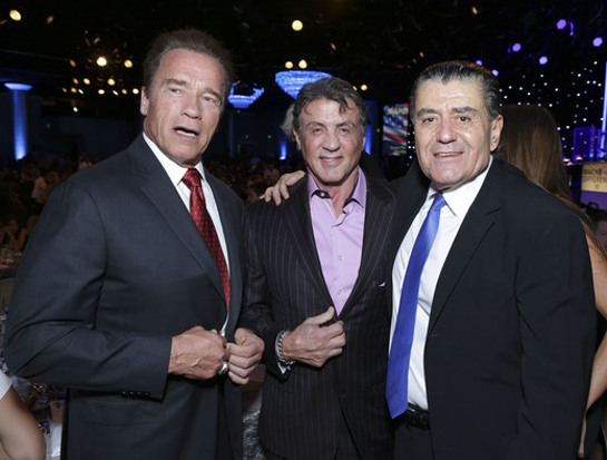 Arnold Schwarzenegger, Sylvester Stallone and gala co-chair Haim Saban