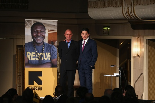 Sting joined IRC President and CEO David Miliband on stage to honor humanitarian aid workers across the world