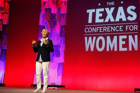 Diana Nyad, record-breaking endurance swimmer, addresses 6,000 attendees at the 2014 Texas Conference for Women
