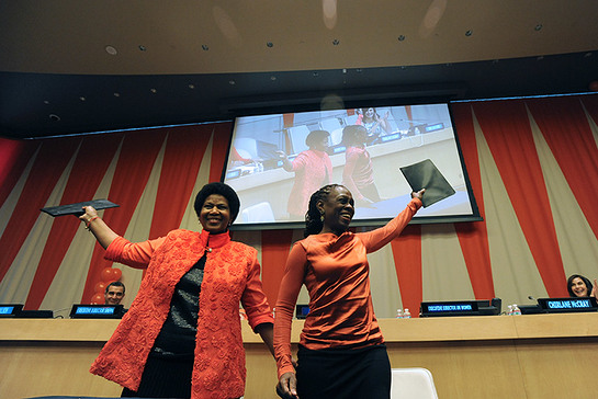 UN Women Executive Director Phumzile Mlambo-Ngcuka (left) and Chirlane McCray, New York City's First Lady