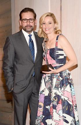 Elizabeth Banks accepts the 2014 March of Dimes Grace Kelly Award from Steve Carell