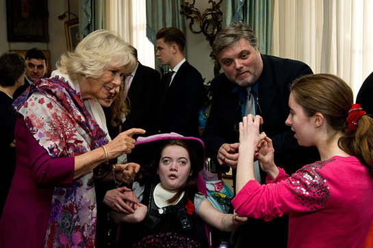 The Duchess of Cornwall meets some of the patients of Helen & Douglas House