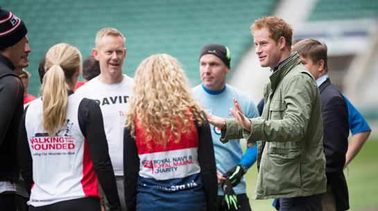 Prince Harry at Twickenham Stadium to watch a training session for RFU and IPF runners