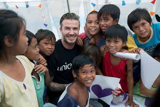 UNICEF Goodwill Ambassador David Beckham meets child survivors of Typhoon Haiyan in the Philippines