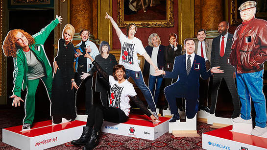 Miranda Hart Poses With Comic Relief Statues