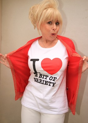 Former Carry On actress Barbara Windsor launches the I Love A Bit of Variety celebrity T-shirt campaign