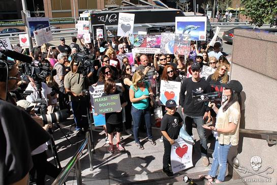 Shannen Doherty speaks to 250 demonstrators in Los Angeles at Japanese Consulate on World Love For Dolphins Day