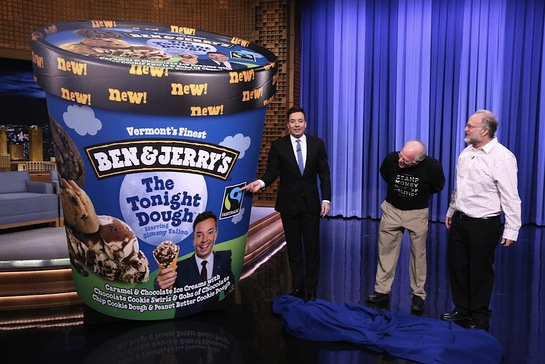 Ben & Jerry's launches their newest flavor, The Tonight Dough Starring Jimmy Fallon on last night's episode of The Tonight Show
