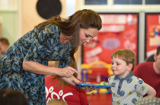 The Duchess of Cambridge meets children during a visit to Action for Children's Cape Hill Children's Centre in Smethwick
