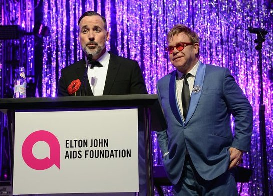 David Furnish and Sir Elton John attend the 23rd Annual Elton John AIDS Foundation Academy Awards Viewing Party