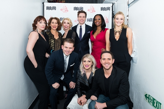 Julia Murney, Randy Graff, Julie Halston, Erich Bergen, Zakiya Young, Betsy Wolfe (Front row, left to right) Bobby Creighton, Annaleigh Ashford, Santino Fontana