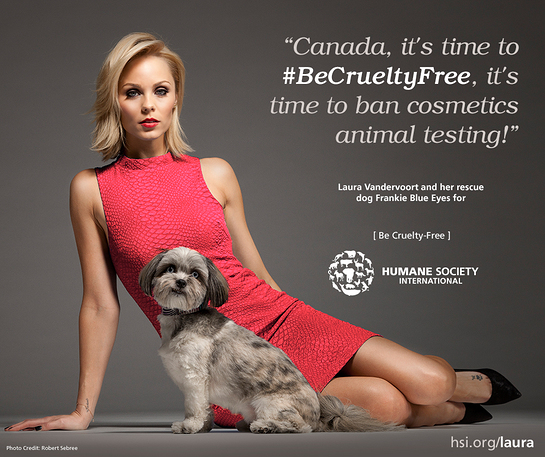 Laura & her dog Frankie say NO to cruel cosmetics