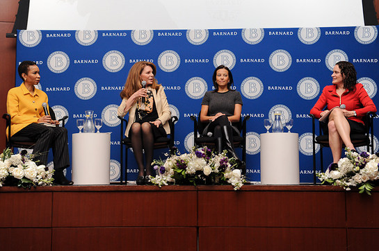 CARE USA CEO Helene Gayle, Queen Noor of Jordan, President of Goldman Sachs Foundation and Founder of 10,000 Women Dina Powell, and Barnard College President Debora Spar