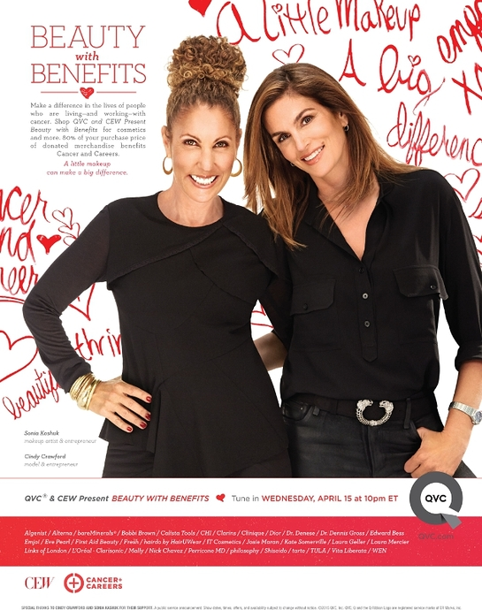 Cindy Crawford and Sonia Kashuk public service announcement for QVC and CEW Present Beauty with Benefits
