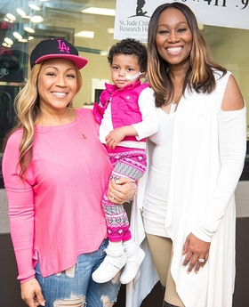 Erica Campbell and Yolanda Adams helped lift the spirits of three-year-old St. Jude patient Bella during the eighth annual Radio Cares for St. Jude Kids national broadcast event