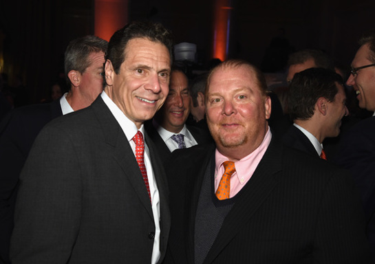 New York State Governor Andrew M. Cuomo (L) and chef Mario Batali