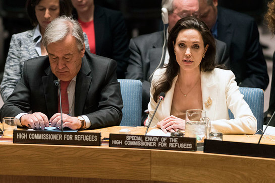 Angelina Jolie addresses the Security Council on the continuing conflict in Syria and the humanitarian and refugee crises