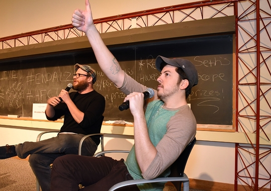 Seth Rogen and Chris Mintz-Plasse provide live commentary during a special screening of their movie Superbad with this year's winners of Hilarity For Charity