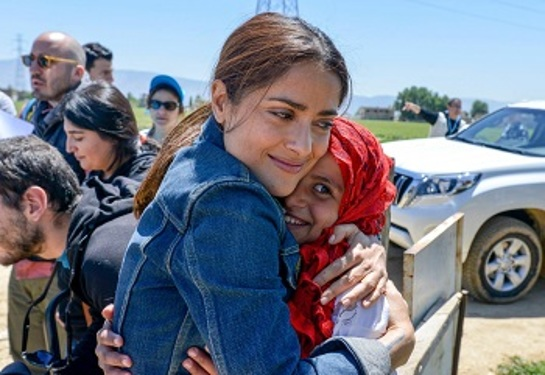 Salma Hayek during a recent trip to Lebanon where she visited with Syrian refugee children.