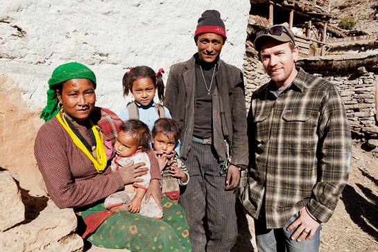 Ewan McGregor met children in Nepal during his 2011 Cold Chain Mission
