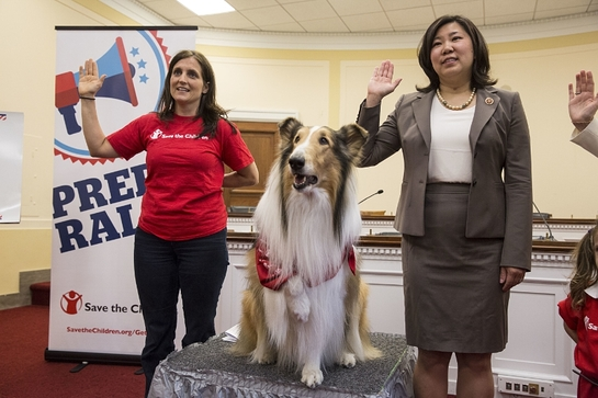 Lassie joins Rep. Grace Meng (D-NY) and Save the Children's Erin Bradshaw in leading a pledge to protect children from disaster