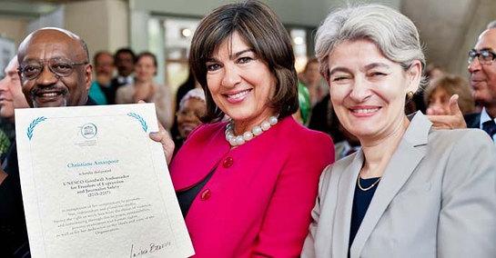 UNESCO Director-General Irina Bokova (right) with Christiane Amanpour