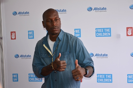 Tyrese on the red carpet at We Day Illinois