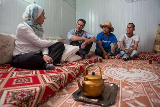 Khaled Hosseini visits a Syrian refugee family in Jordan.
