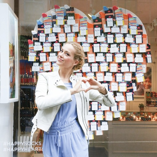 Petra Nemcova celebrates the launch of her foundation Happy Hearts Fund's collaboration with Happy Socks at the Happy Socks's Soho location