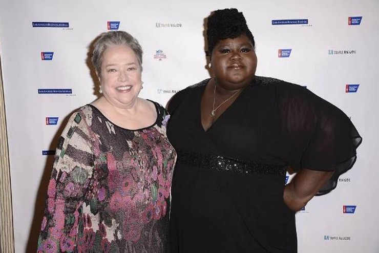 Kathy Bates and co- star Gabby Sidibe of American Horror Story attend American Cancer Society's Birthday Ball