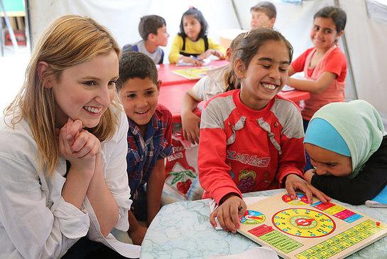 Laura visits children in informal learning spaces at Houch El-Oumara tented settlement in Bekaa Vally