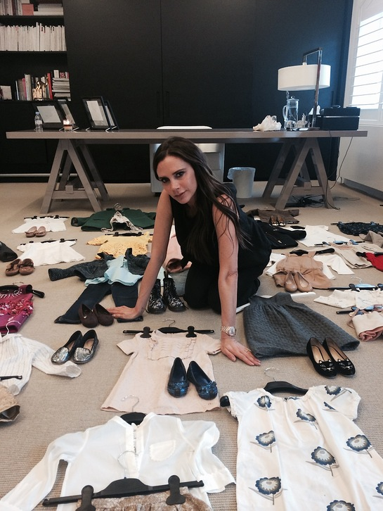 Victoria Beckham Sorts Through Harper's Clothes