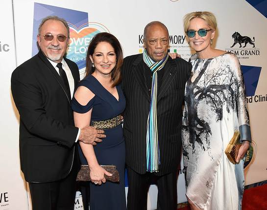 Gloria and Emilio Estefan, Quincy Jones & Sharon Stone