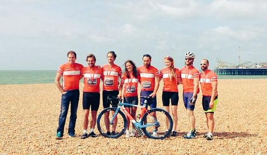 Pippa Middleton and her team at the finish line at Brighton