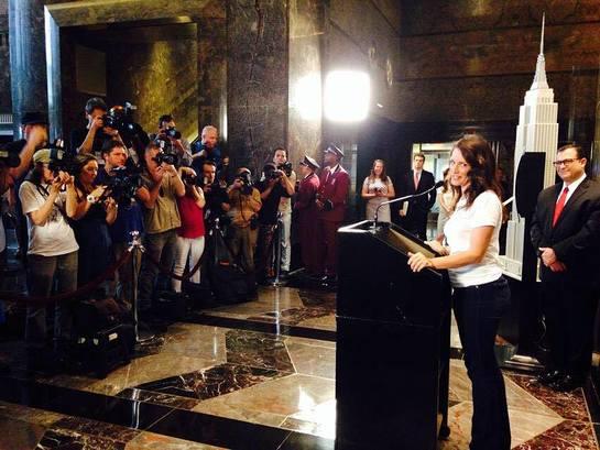 Kristin Davis Speaks Before Lighting Empire State Building