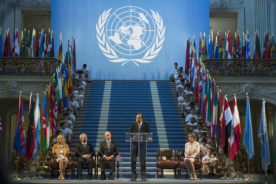 Ban Ki-moon addresses a ceremony commemorating the 70th anniversary of the adoption of the UN Charter in San Francisco
