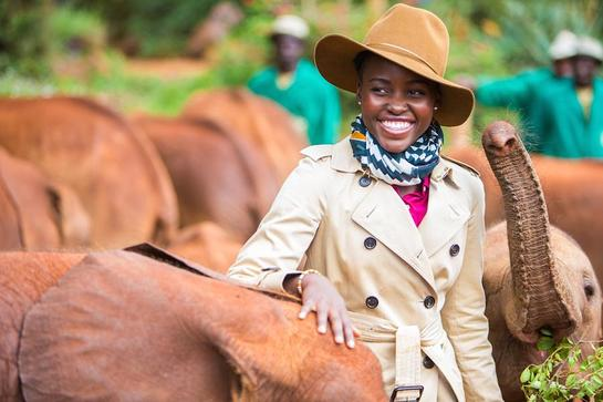 Lupita Nyong'o visits The David Sheldrick Wildlife Trust's Nairobi Elephant Orphanage