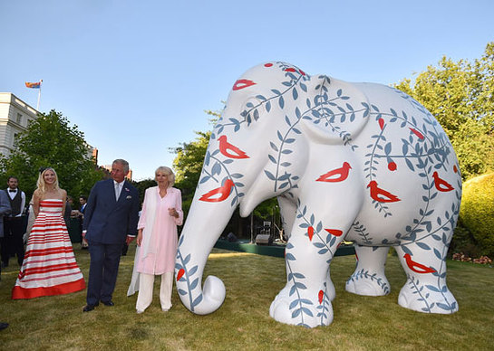 Prince of Wales and Duchess of Cornwall attend a reception in support of the Elephant Family at Lancaster House