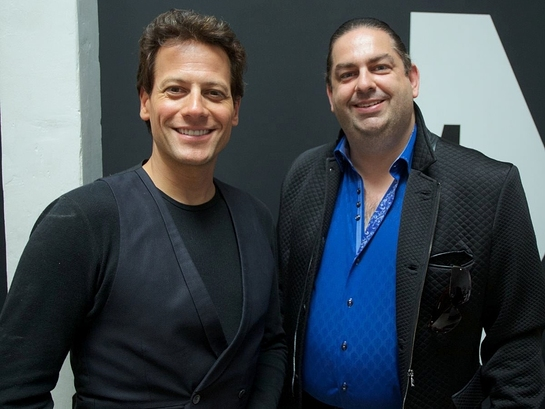 Walter O'Brien with actor Ioan Gruffudd at BritWeek: Code for Kids Hackathon