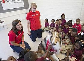 Lassie Delights Children at a Save the Children Prep Rally, Kingsley House Head Start Program, New Orleans