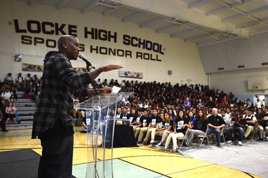 Tyrese Gibson surprised hundreds of students at his former high school, Alain LeRoy Locke College Preparatory Academy